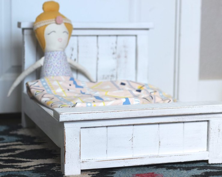 Handmade Dolls in Doll BEd, Doll Farmhouse Bed, ORganic DOll