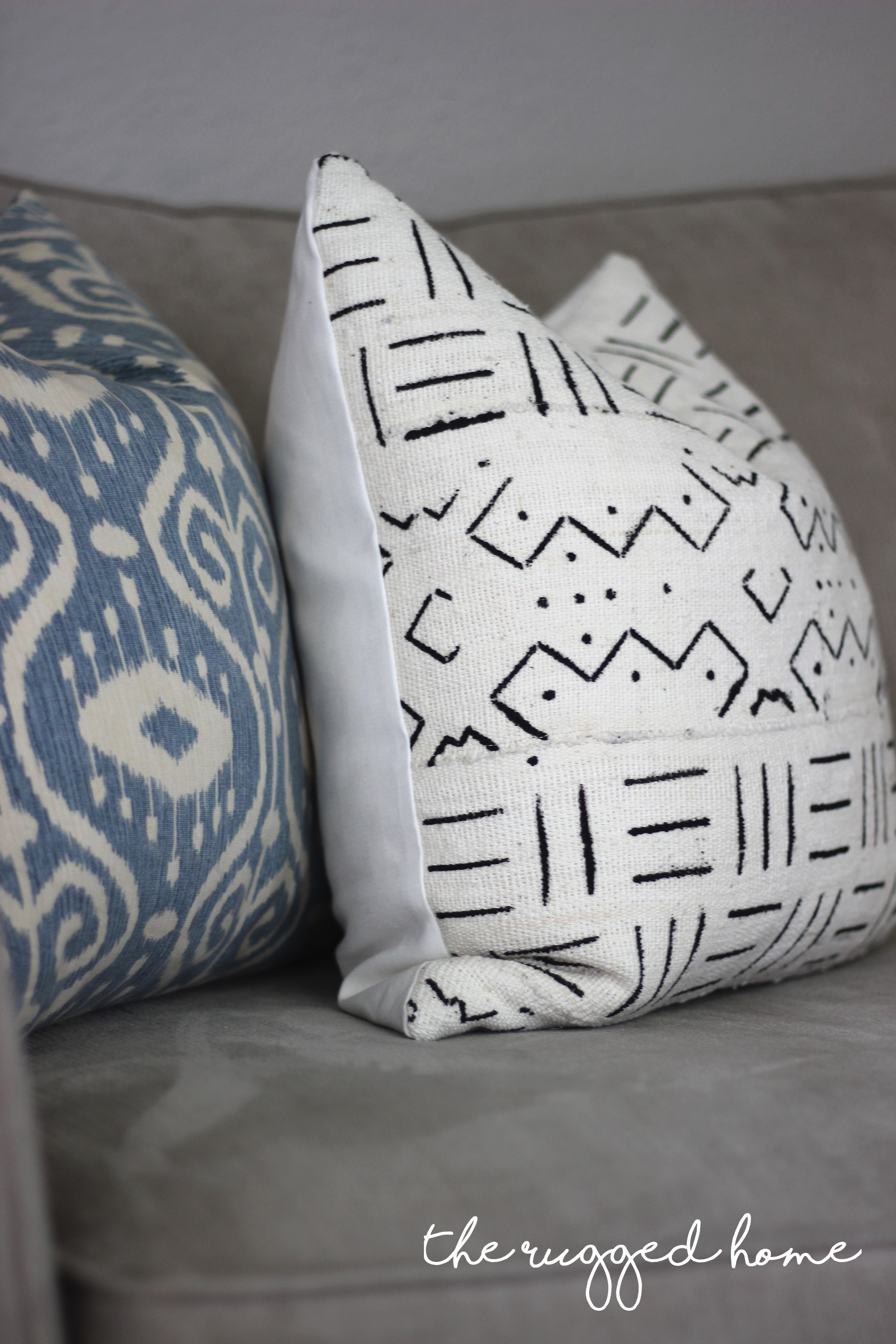Mud Cloth Pillows In Farmhouse Living Room, Rustic Decor, Country Modern Decor, Fixer Upper Style