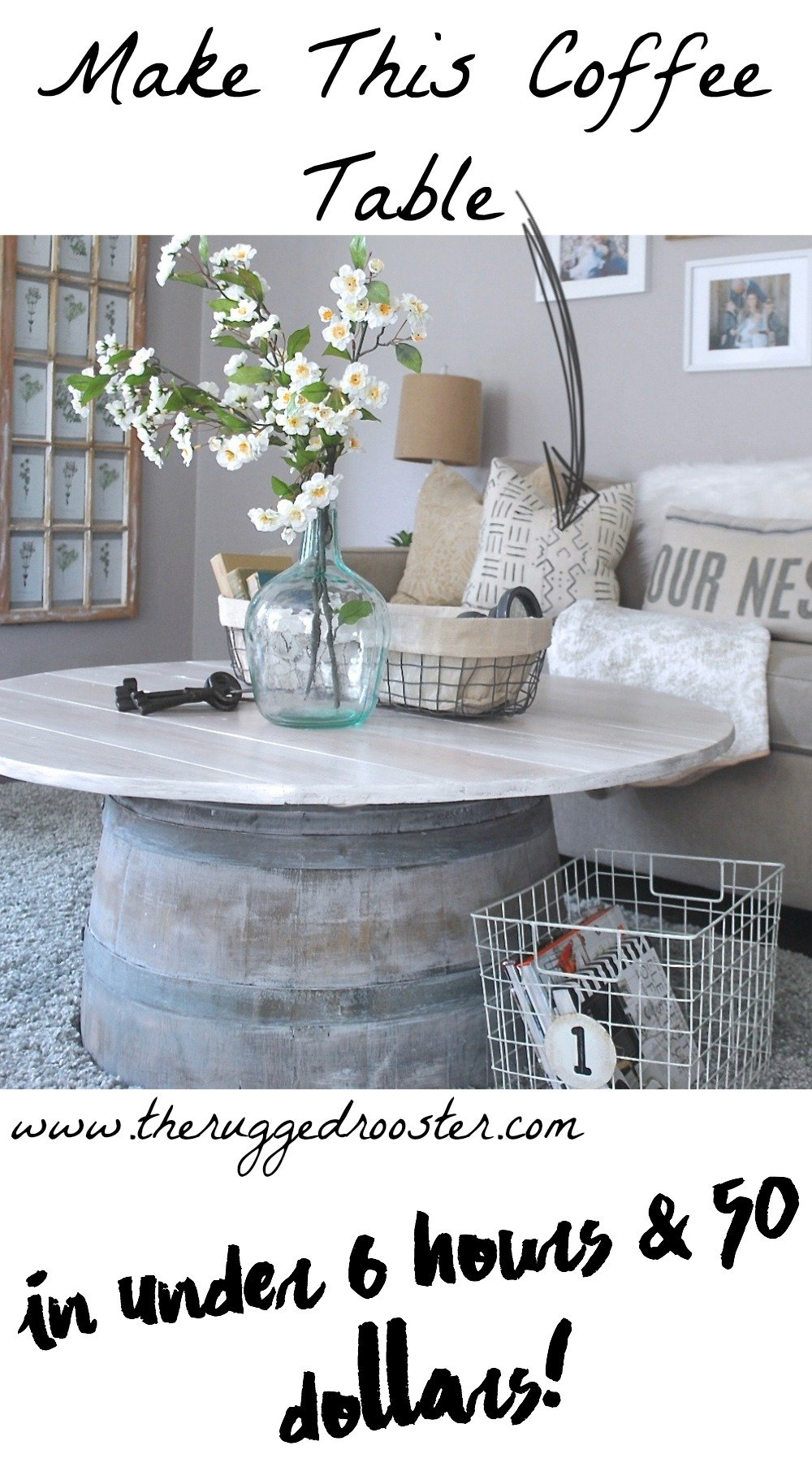 Wine barrel coffee table the rugged home for Coffee table under 50