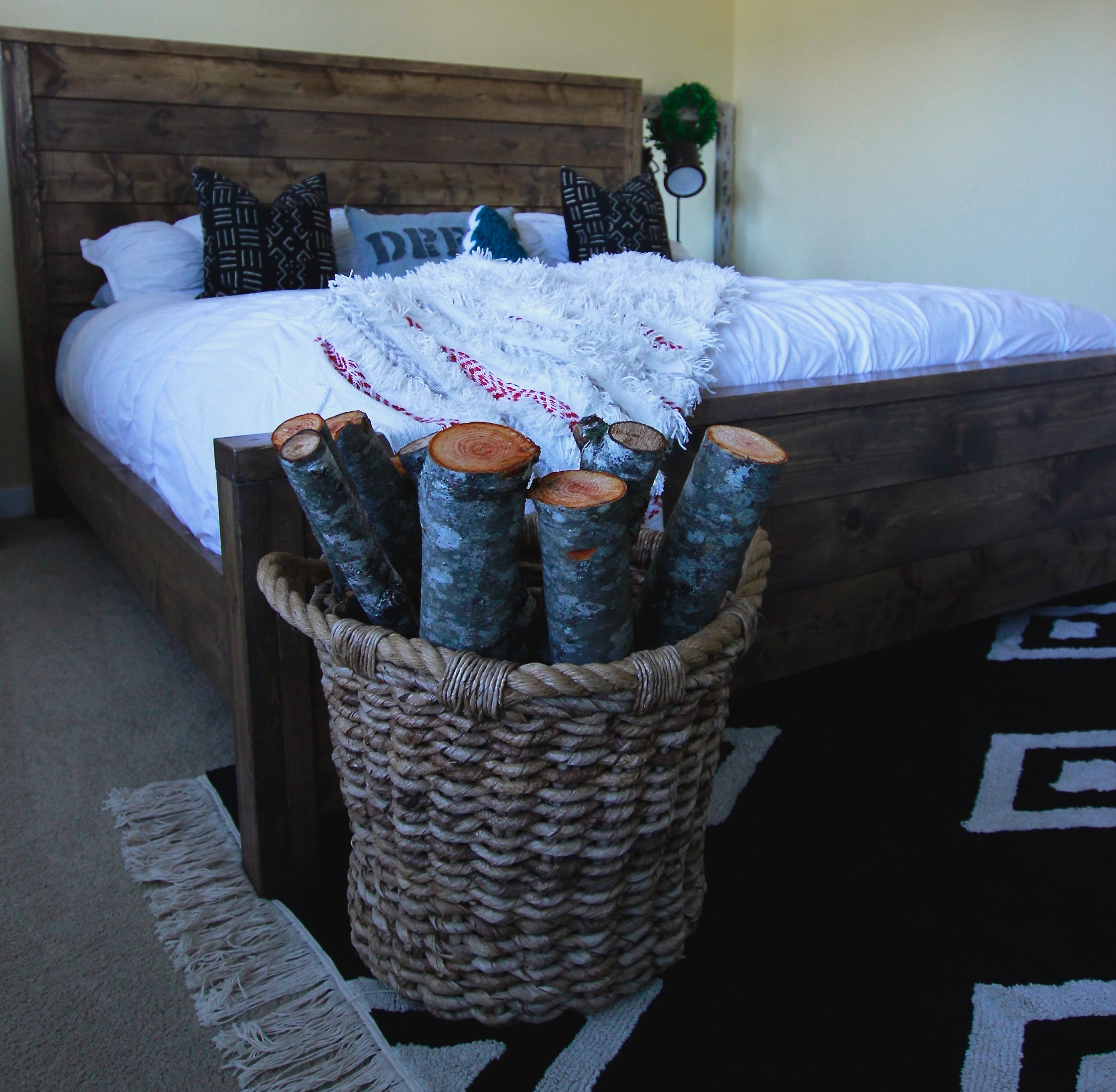 Our DIY Modern Rustic Bed, Available To Purchase Through The Rugged Home, www.theruggedhome.com, Rustic Modern Bed, Farmhouse Modern Bed