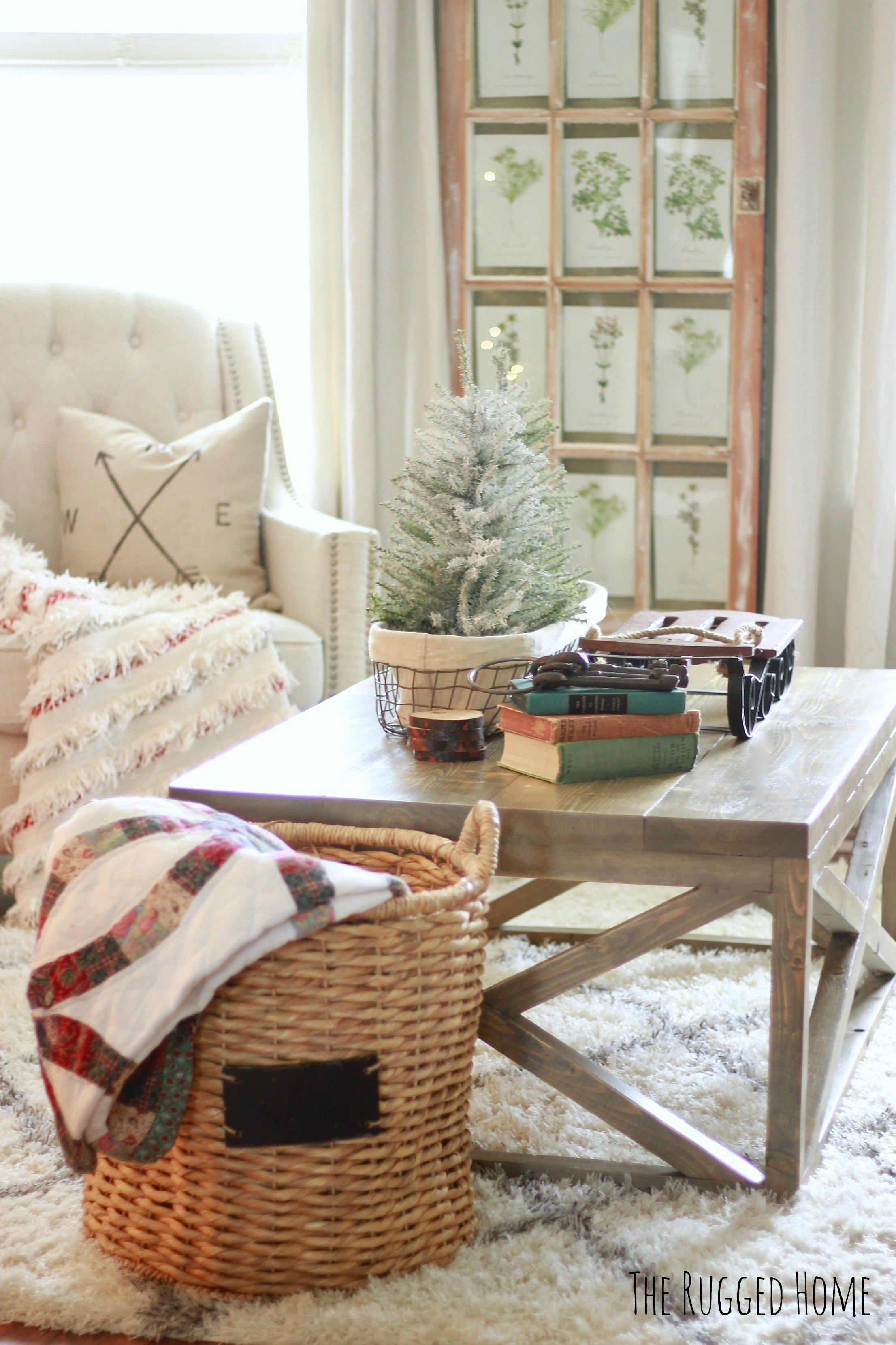 Our White Farmhouse Christmas Living Room, This year we decorated our home in whites, and splashes of red here and there...www.whitepicketfarmhouse.com
