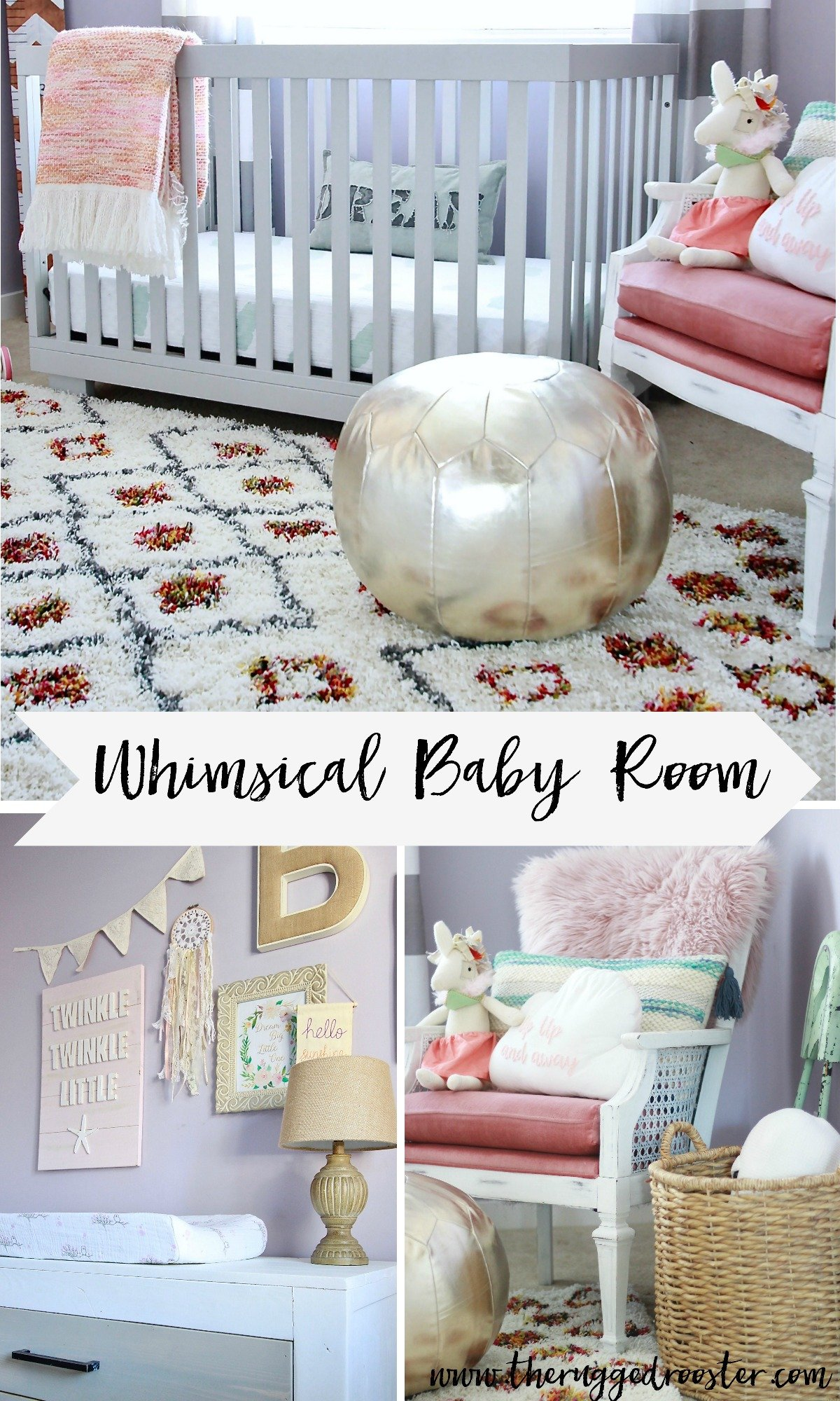 Whimsical baby room. Super adorable little girl nusery with purple pink and modern rustic pieces www.whitepicketfarmhouse.com