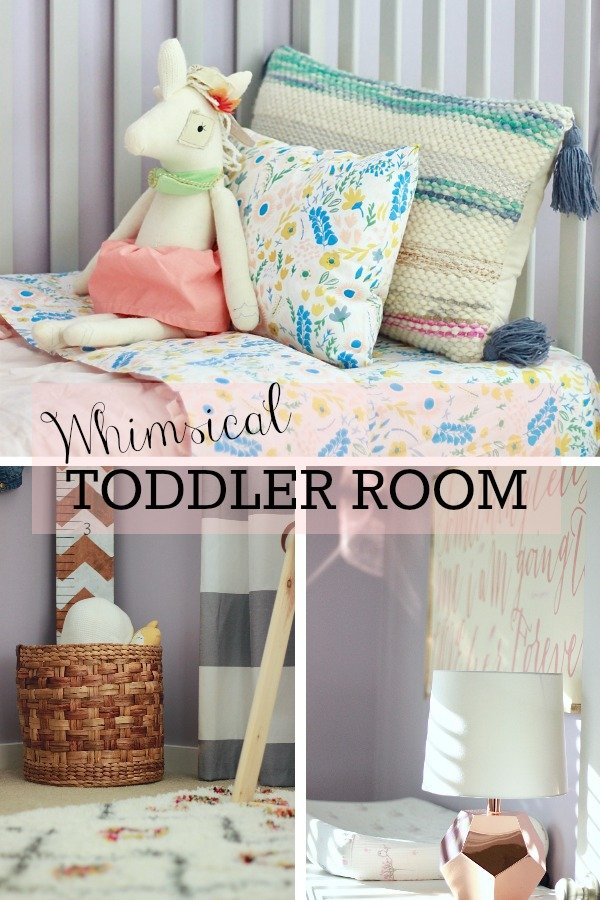 Whimsical Toddler Room in pinks, purples and shag moroccan rug. The Land of Nod www.whitepicketfarmhouse.com