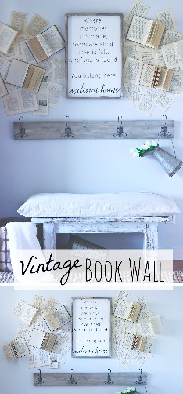 Vintage Book Wall, My Farmhouse Wall Decor, Inspired by Cotton Stem Ineriors www.whitepicketfarmhouse.com