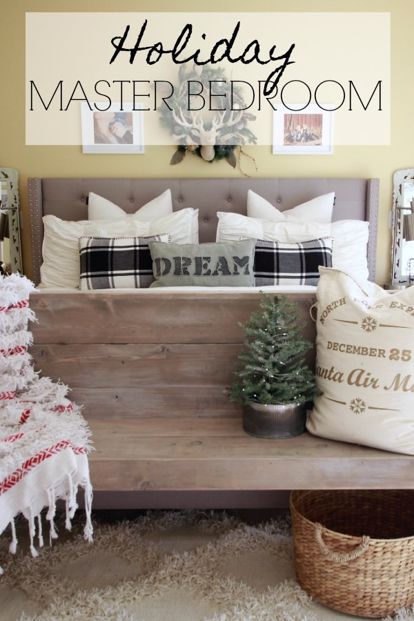 Holiday Master Bedroom, How I decorated our master bedroom for under 10 dollars. Decorating for free or frugally, Christmas bedroom decor, Christmas Home Decor, Farmhouse Christmas Bedroom
