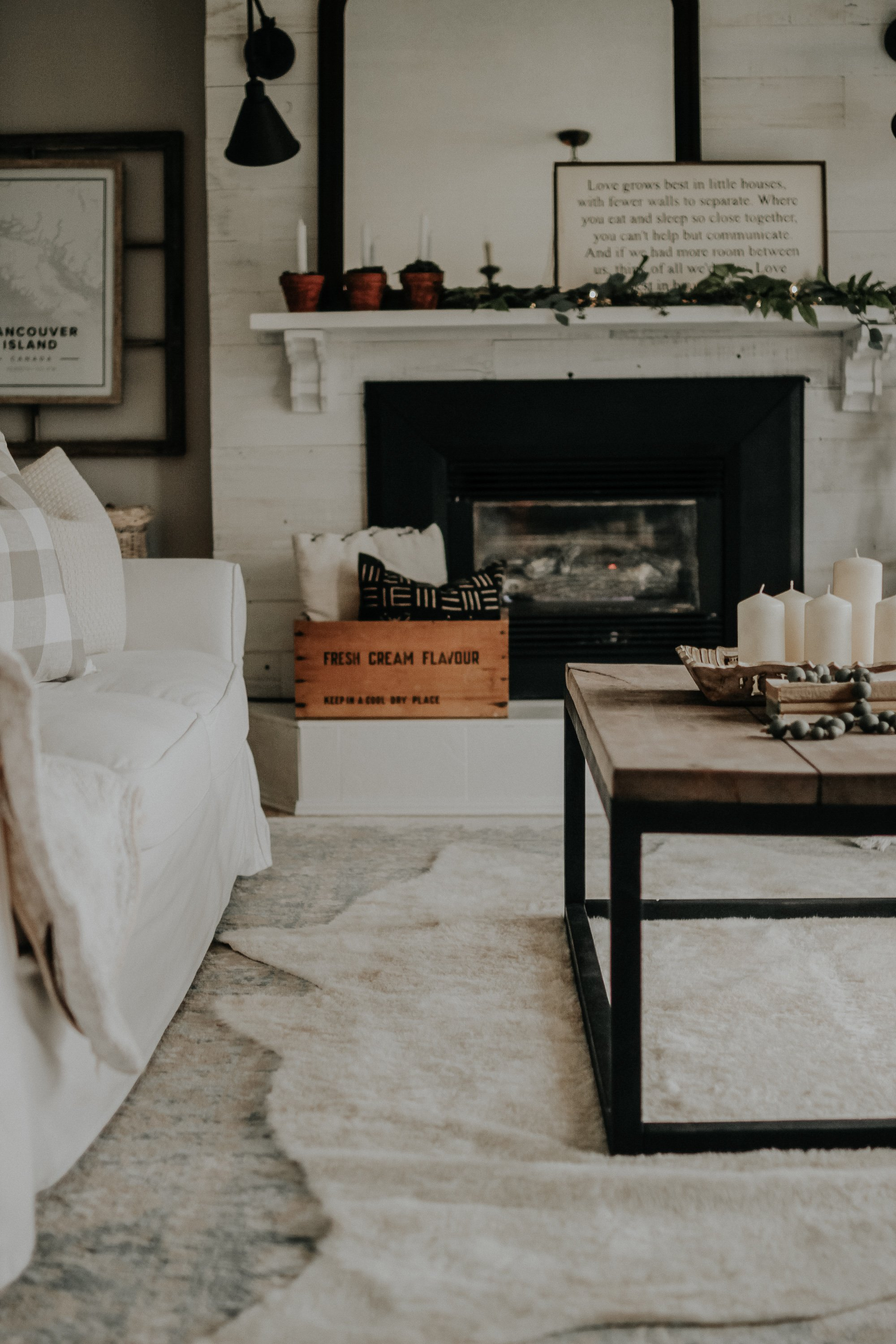 Cozy Winter Decor. Decorating After Christmas while still having a super cozy home. My key pieces to make my home extra cozy after the Holidays and into the new year. January Decor for a cozy farmhouse. Liz Marie Galvan Inspired, Shiplap Fireplace and Layered Mantle
