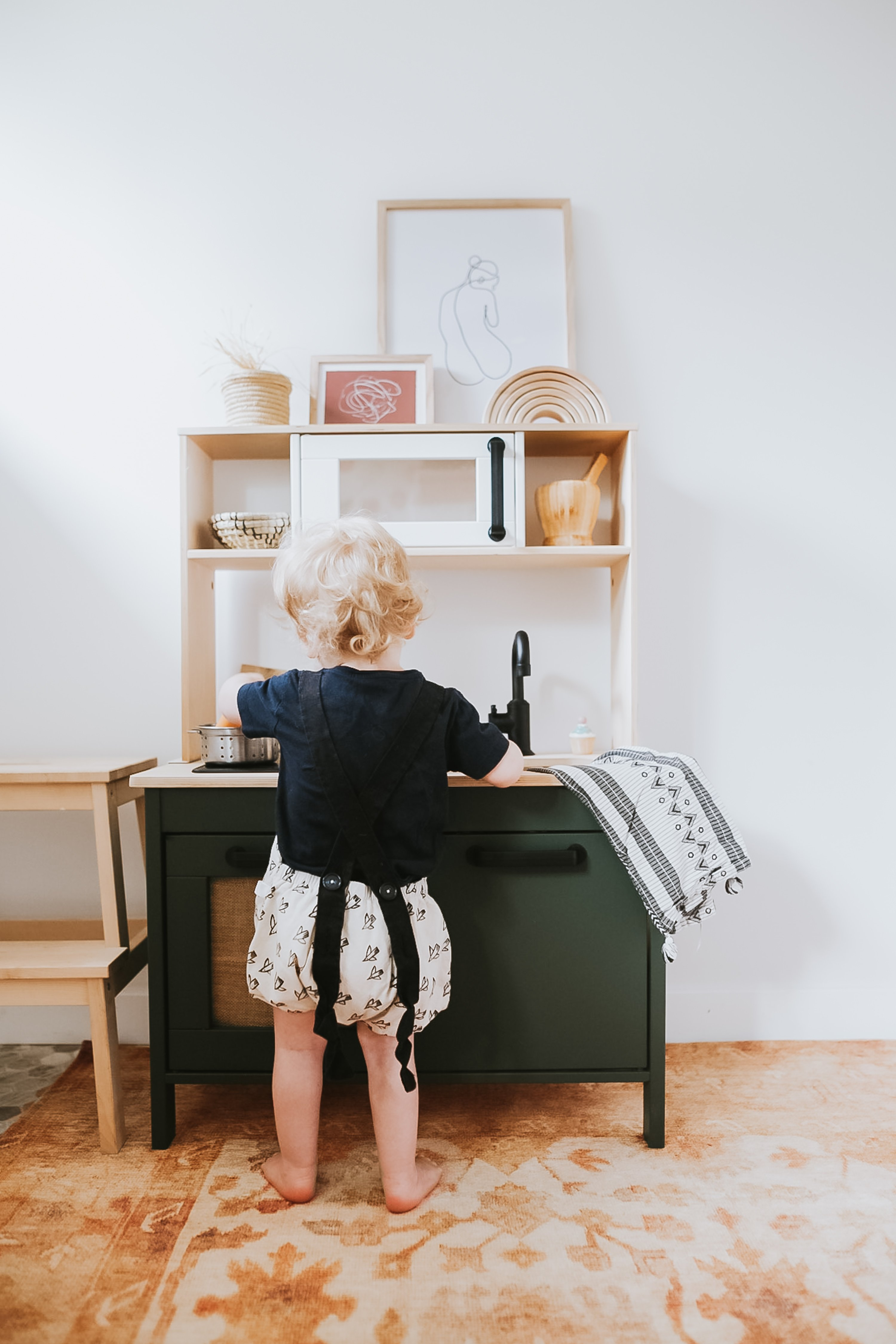 Ikea Kids Kitchen Hack. How I refinished our DUKTIG Play Kitchen for free with paints I already had on hand and turned it into a modern kitchen. Easy DIY!