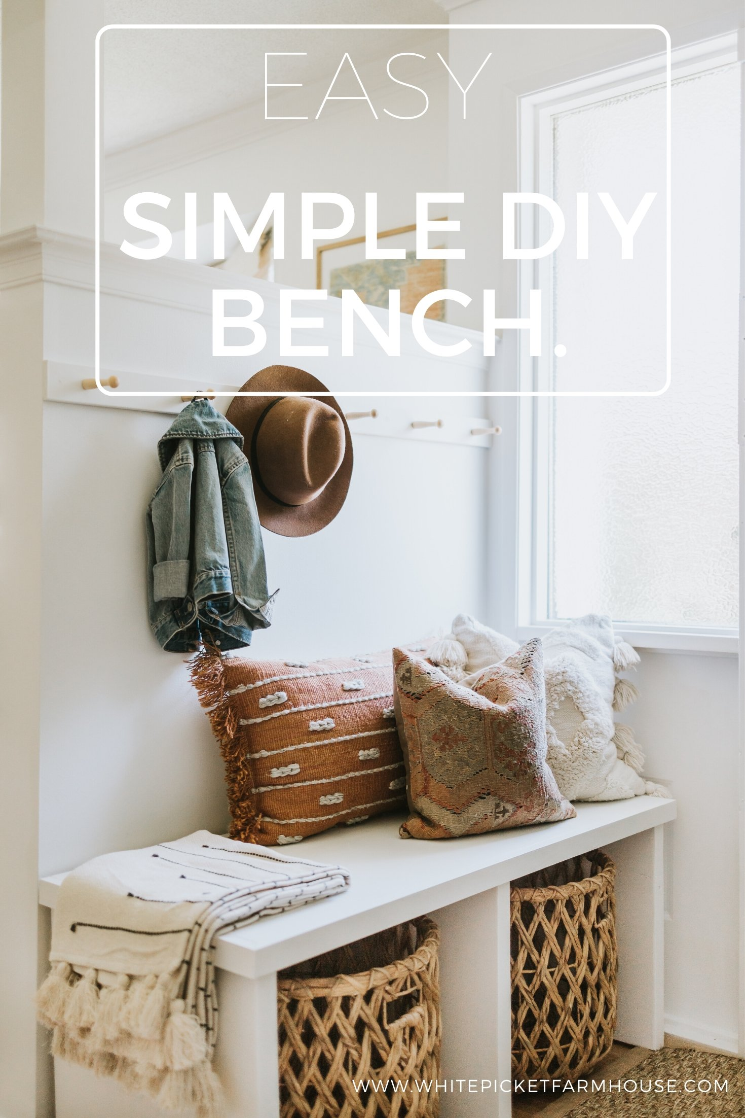 Simple DIY Bench. How We Made A Bench To Look Like A Modern Built-In In Our Rental. Super Easy and Beautiful Design With Storage!