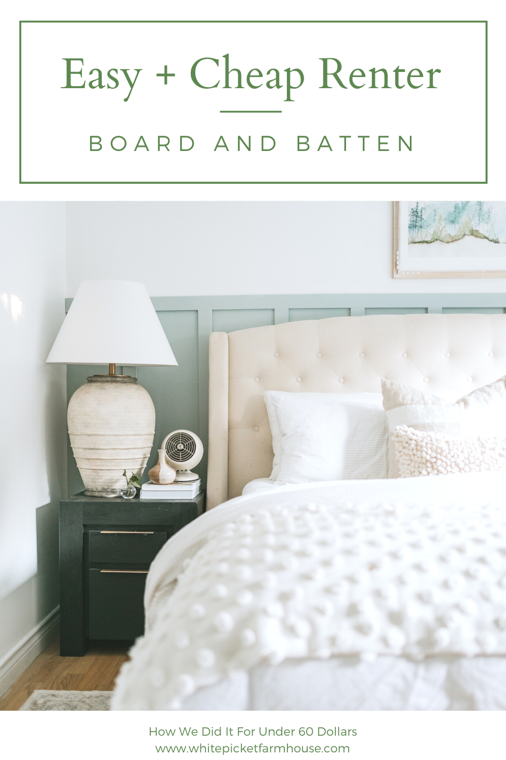 Super Easy and Cheap Renter Board and Batten. How To Board and Batten Your Walls Even If You're In A Rental For Very Low Cost. Also My Secret Paint Colour and Pre-Primed Boards! Our Twist on A Modern Coastal Master Bedroom in our Updated Bungalow.