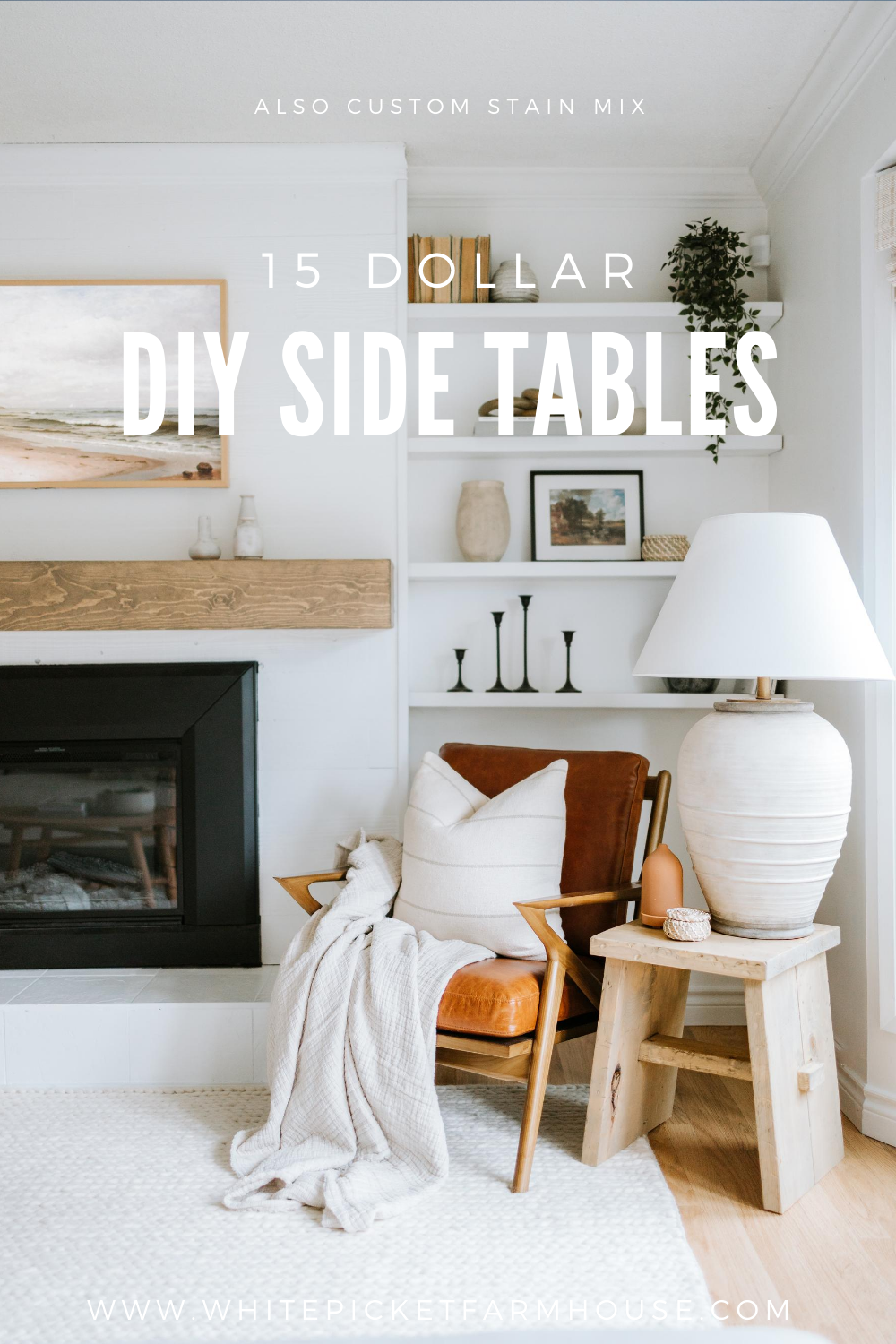 DIY 15 Dollar Side Tables. How We Made Two Side Tables For Under 30 Dollars with Minimal Tools. These Side Tables Were Dreamt Up From The Skinny Bench Trend. Also a Custom Stain Mix To Get a Restoration Hardware Look.