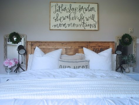 Rustic Bed with White Pottery Barn Duvet Cover