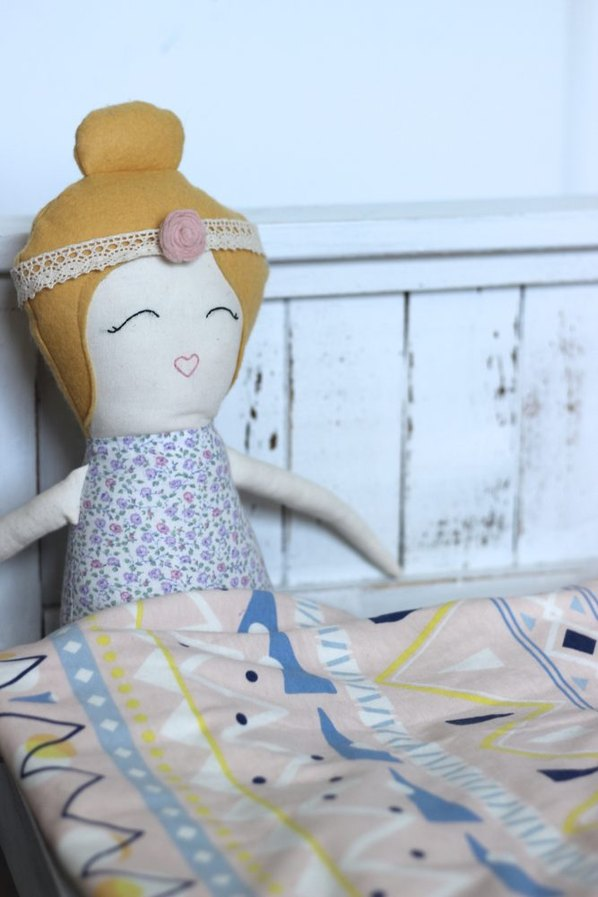 Organic Dolls, Dolls With Top Bun, Girly Doll, Handmade Doll, Farmhouse Bed, Bed For Doll
