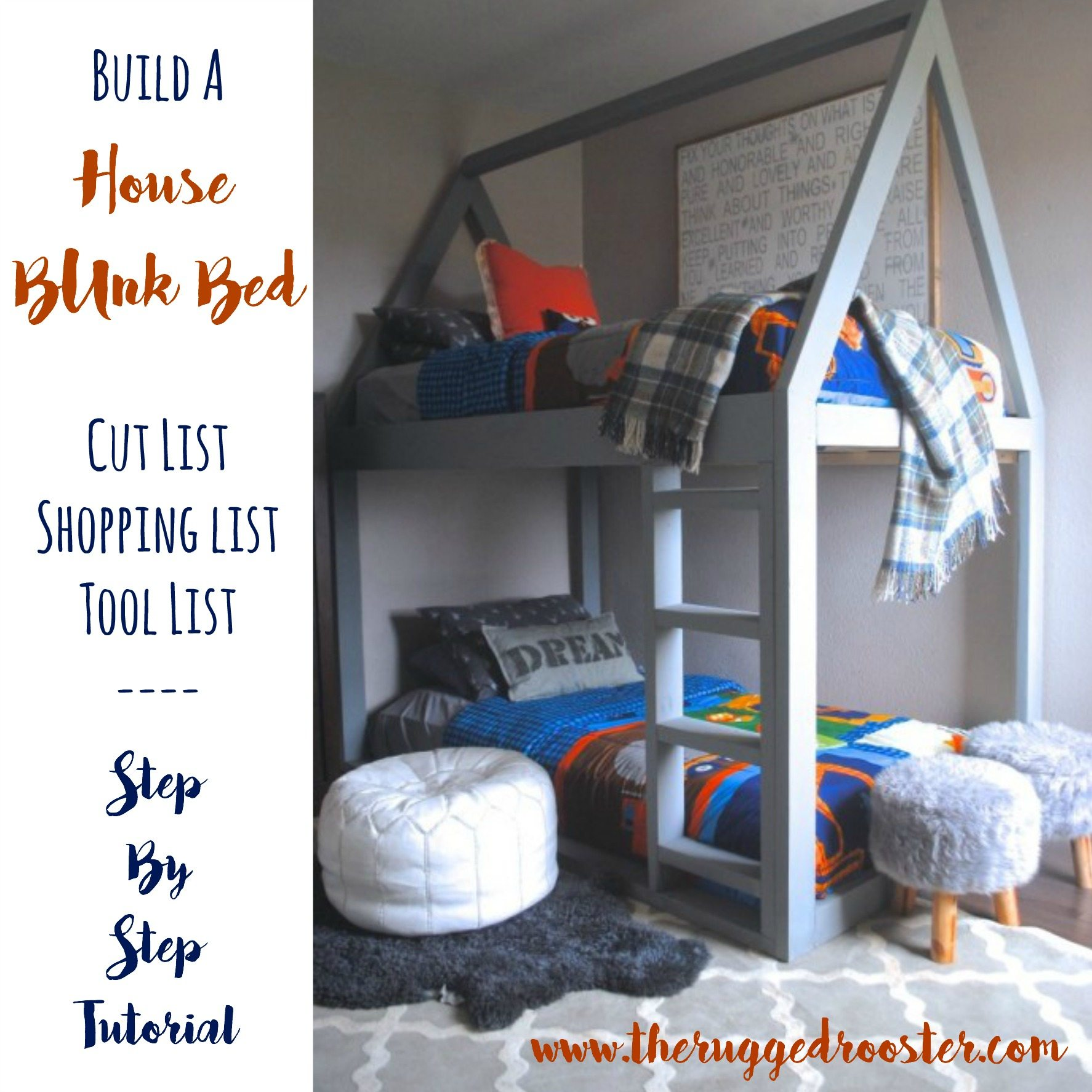 Build a House Bed, Bunk Bed Loft Bed, DIY Bed