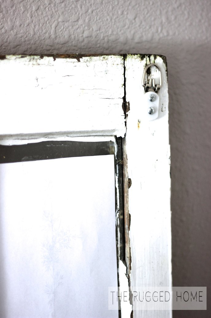 Salvaged Window with Hooks on Back. Super Easy DIY