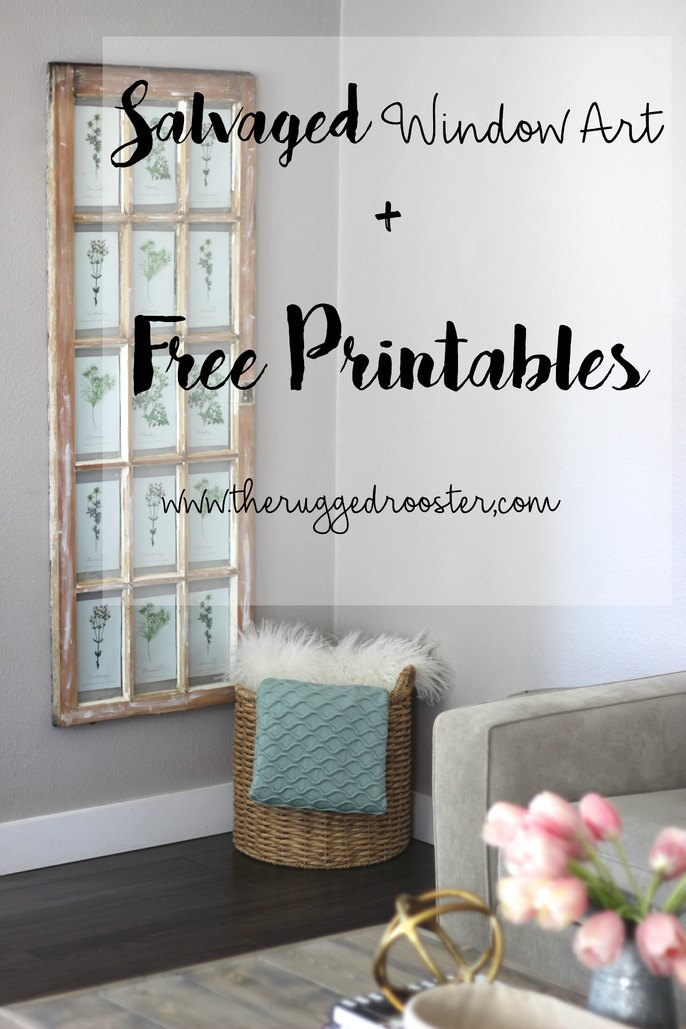Salvaged Window and Free Printables, DIY Barn Window, Window Art, Free Prints, Botanical Prints