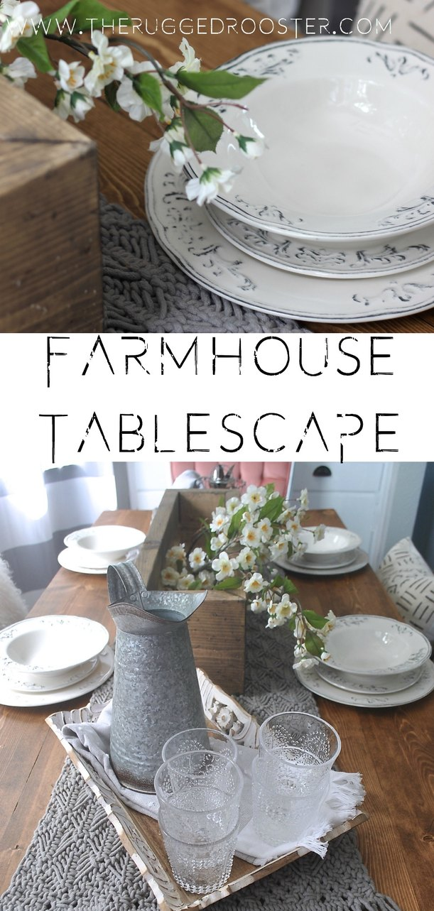 How To Style A Stunning Farmhouse Tablescape For Pennies, Table Decorations And Where To Buy, Table Decor Handmade, Runners, Table Box and Dishes.
