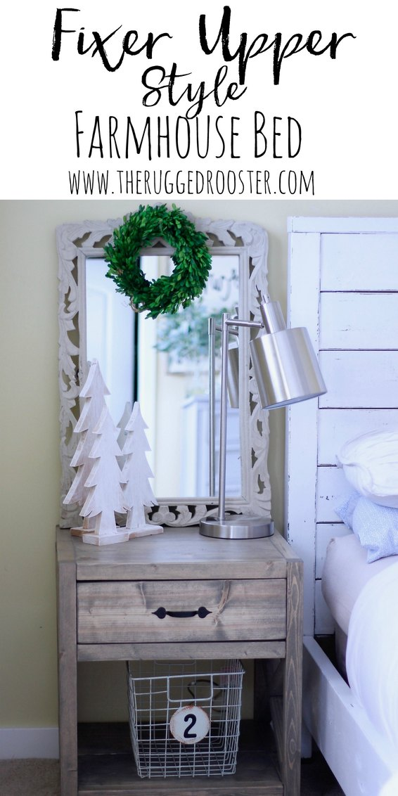 Farmhouse Fixer Upper Style Bed. Turn your Bed into a dreamy fixer upper bed for free! www.whitepicketfarmhouse.com