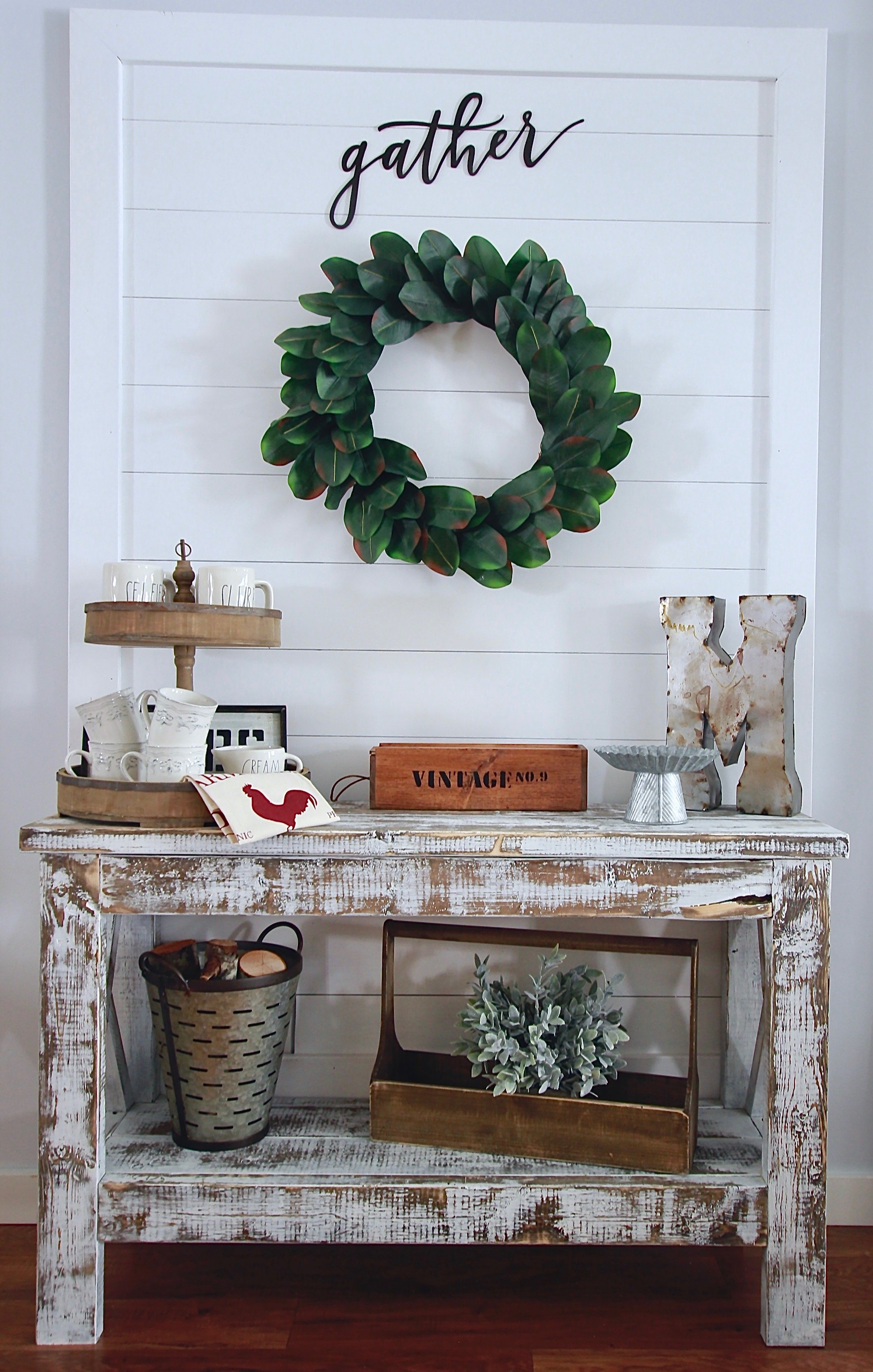 Our DIY Shiplap Wall Hanging Sign Decor www.whitepicketfarmhouse.com