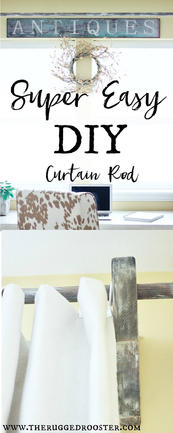Super Easy DIY Curtain Rod Made of out wood & made to look rustic and distressed. DIY Corbels for farmhouse room www.whitepicketfarmhouse.com Maison De Pax DIY Curtain Rods