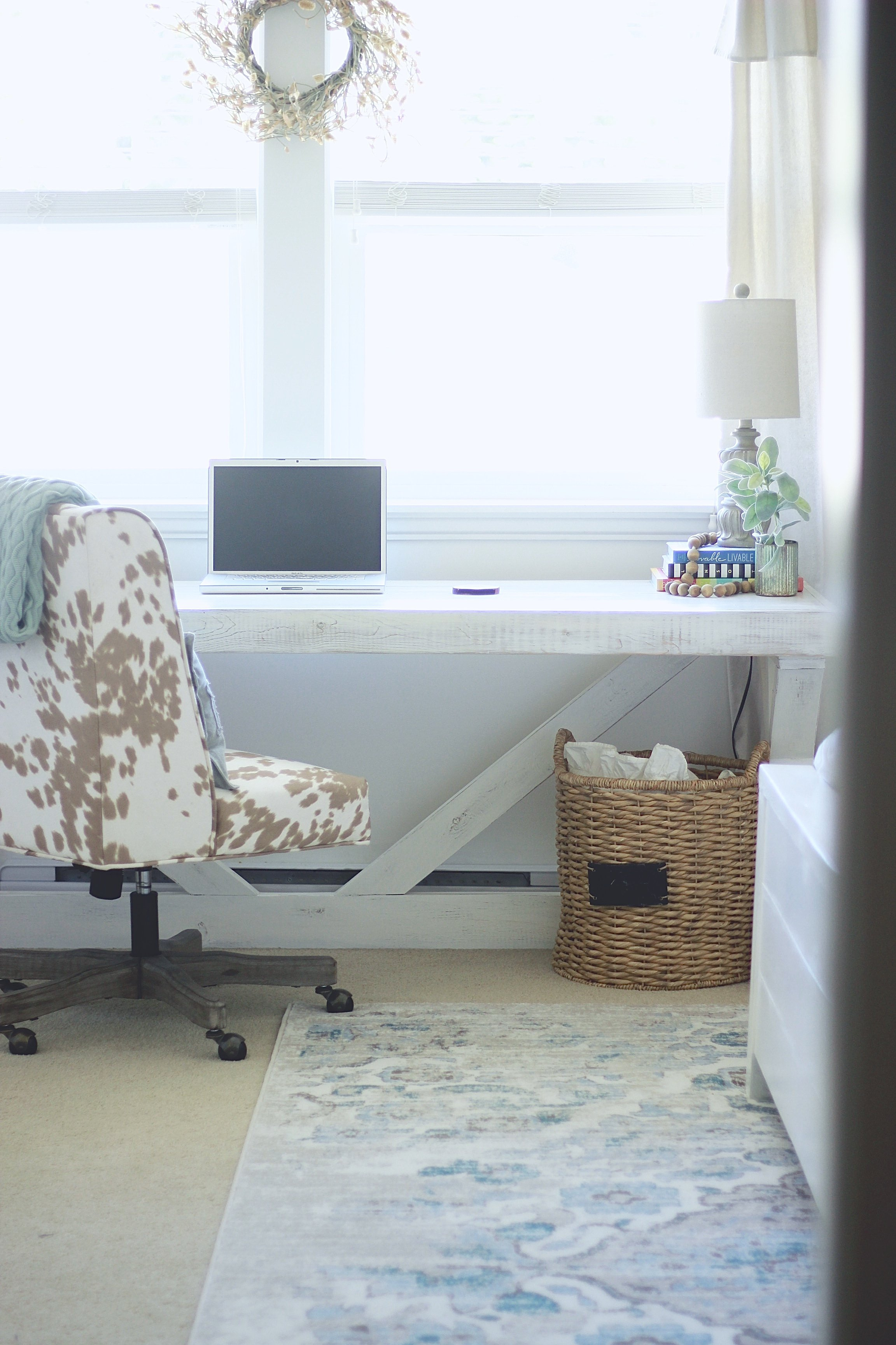 White Farmhouse Office. See how we transformed our space from ugly yellow walls and no style into our dream office. DIY rustic desk and DIY Drop Sheet Curtains and Corbels Tutorials www.whitepicketfarmhouse.com