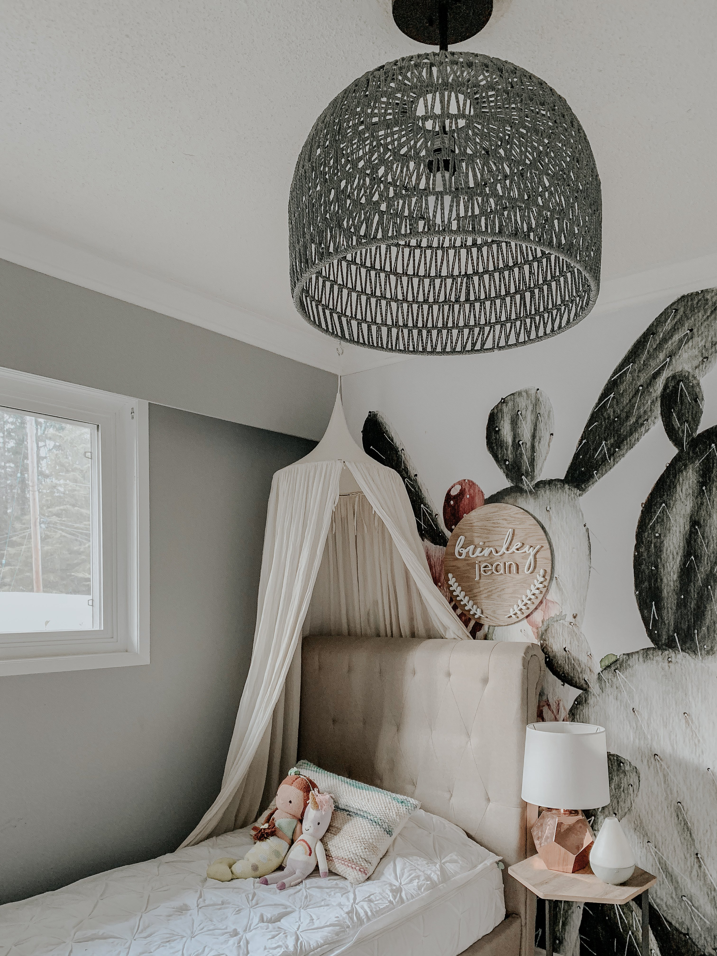 Brinley and Rhett's Space. See My Kiddos boho desert nursery. Completed with a Cactus wallpaper and a lantern pendant light