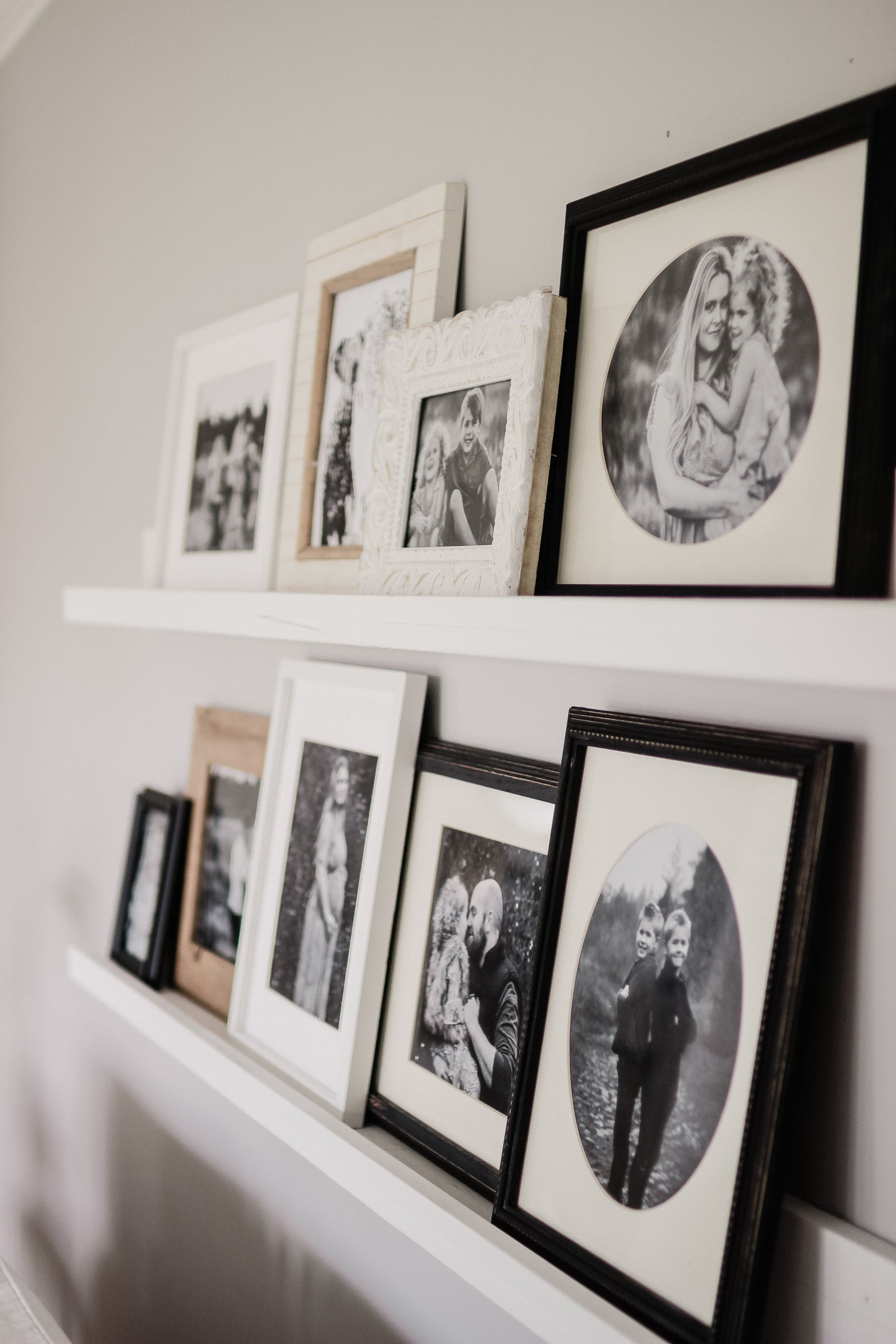 Super Easy DIY Picture Ledge. How To Make One In Under 10 Minutes and 10 Dollars, Way Cheaper Than Ikea and Way Better Quality. Simple Way To Hang Pictures On Your Wall For a Gallery Wall