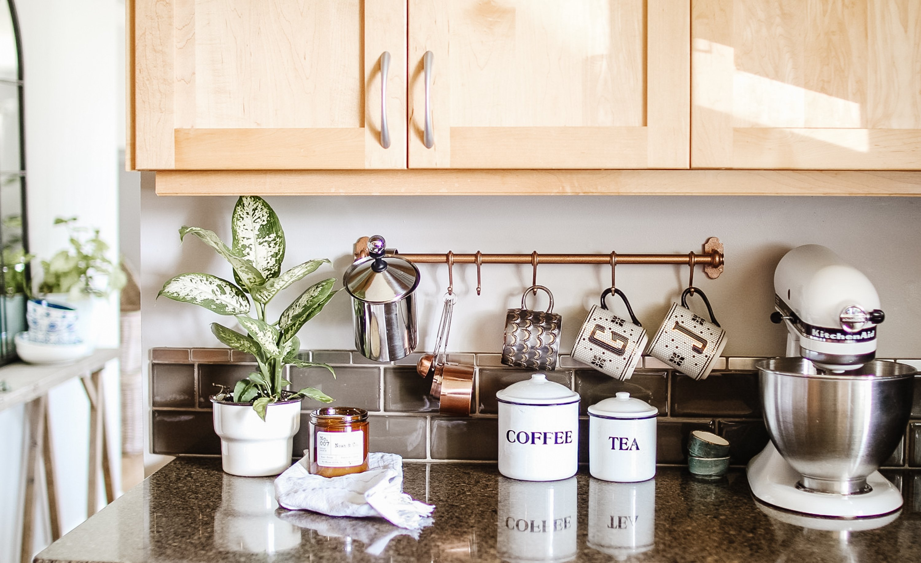 Anthropologie Inspired Copper Mug Rack DIY. How to Make this coffee rack for under 15 dollars and a can of spray paint. Also where to shop everything. Get this look for Cheap. Modern Inspired Kitchen Essentials