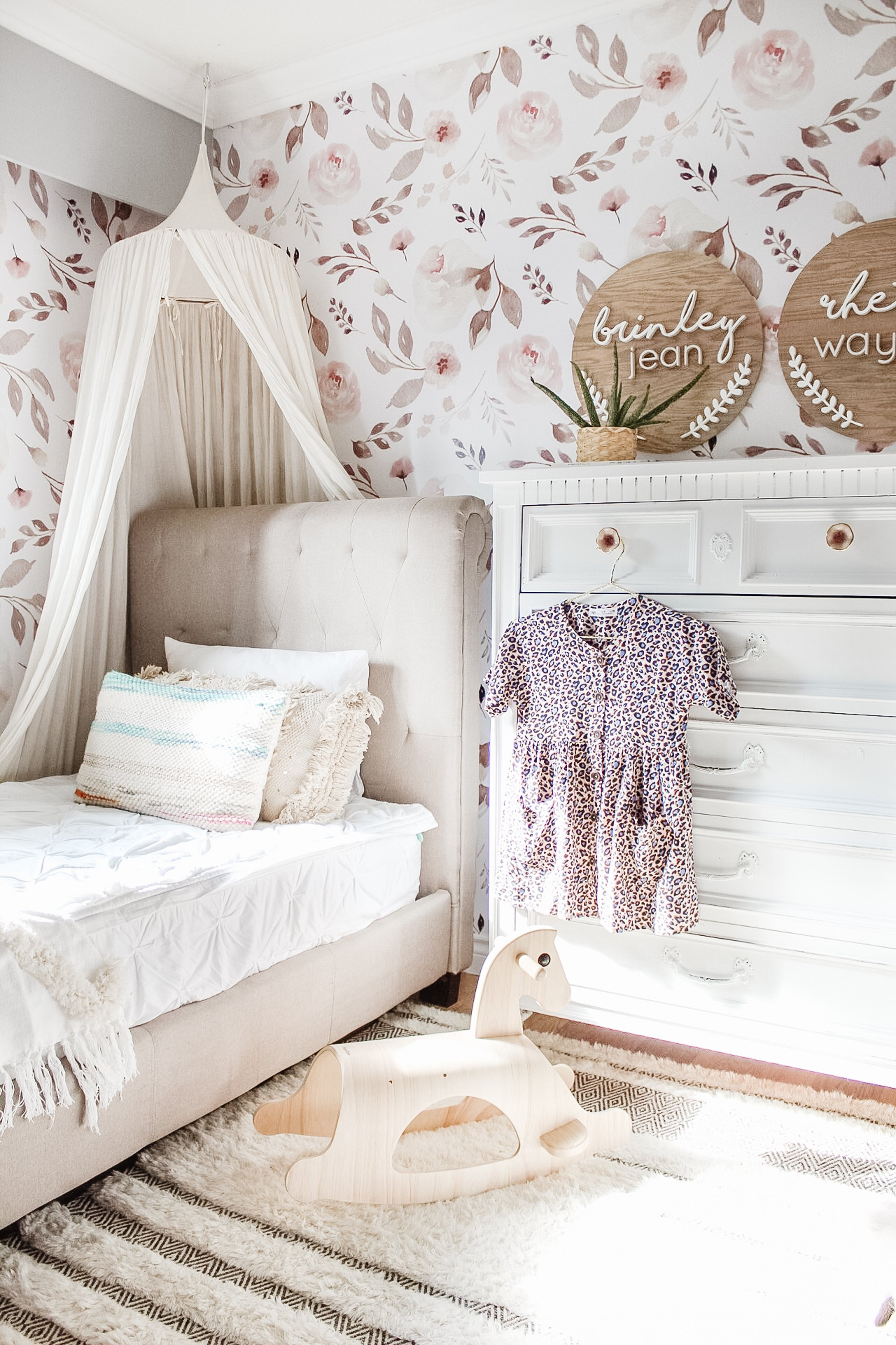 Desert Rose Removable Wallpaper from Urban Walls. Our Easy DIY Of Transforming Brinley's little bedroom! An easy way to transform your outdated space! Flower Wallpaper
