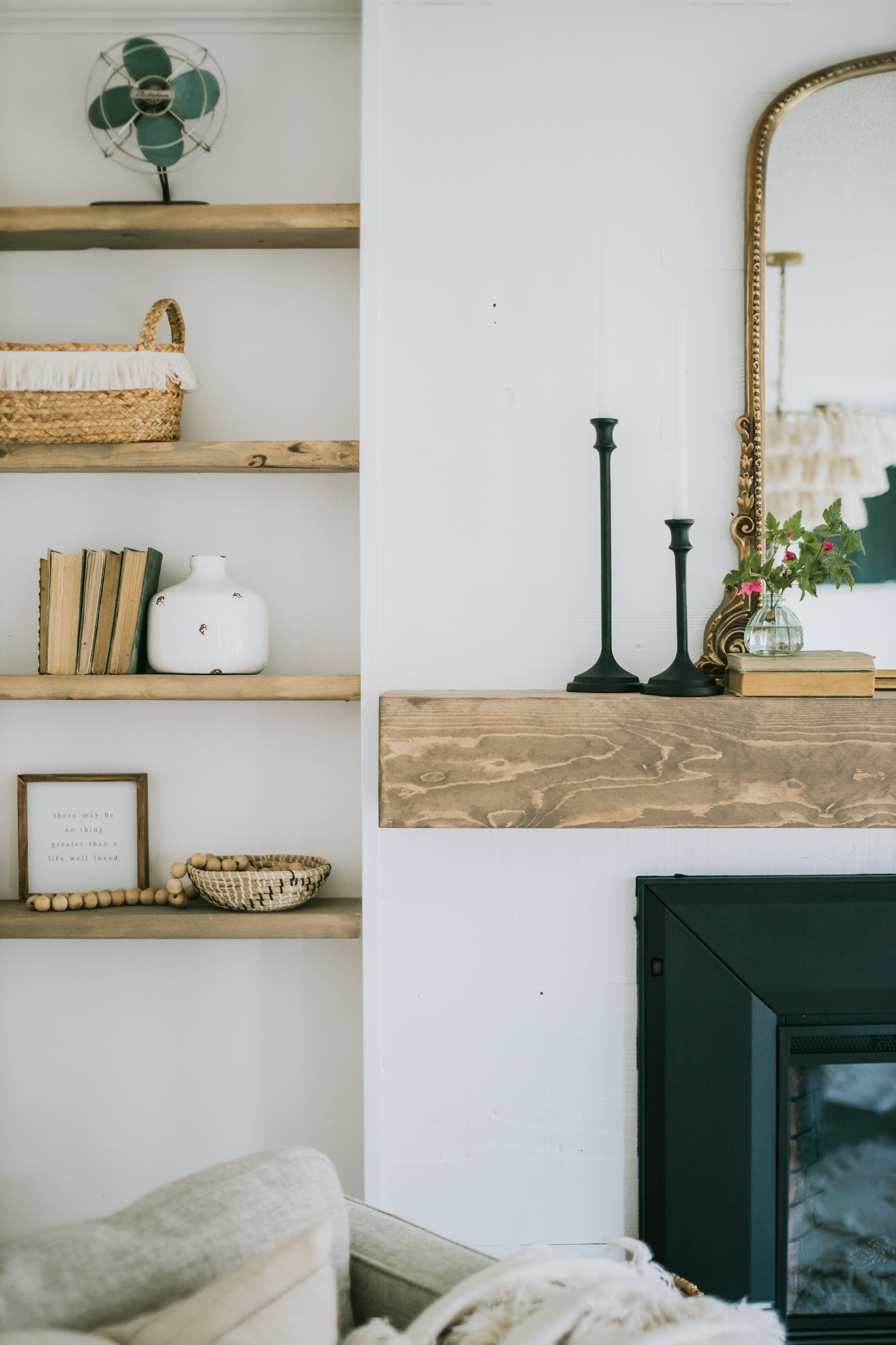 DIY Modern Wood Mantle. How We Built our mantle for under 75 dollars and our custom Beachwood stain.