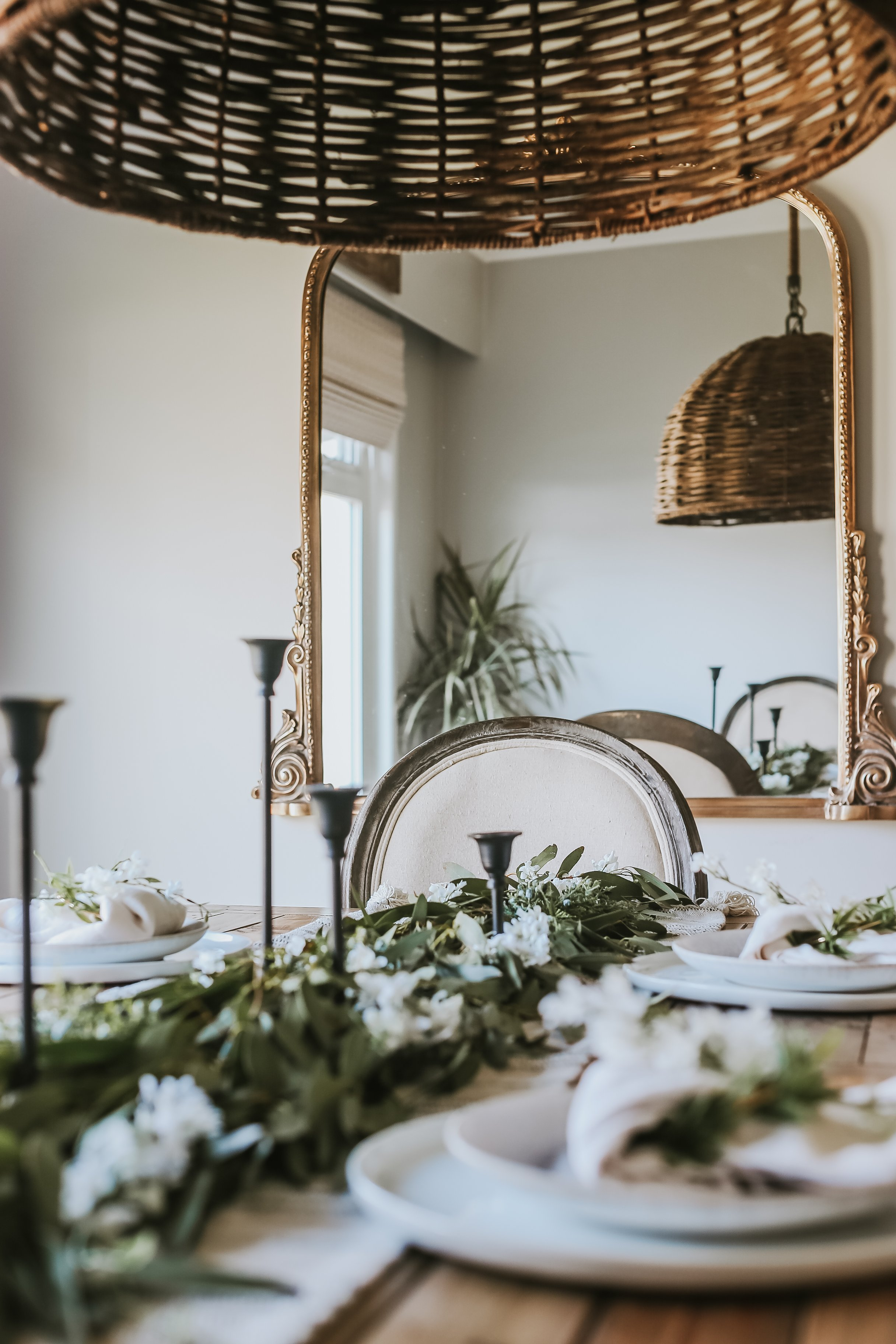 An Easter Tablescape. Since we're all I quarantine, here's an easy way to style your table for easter or spring with foliage from outside and items you have around your home.