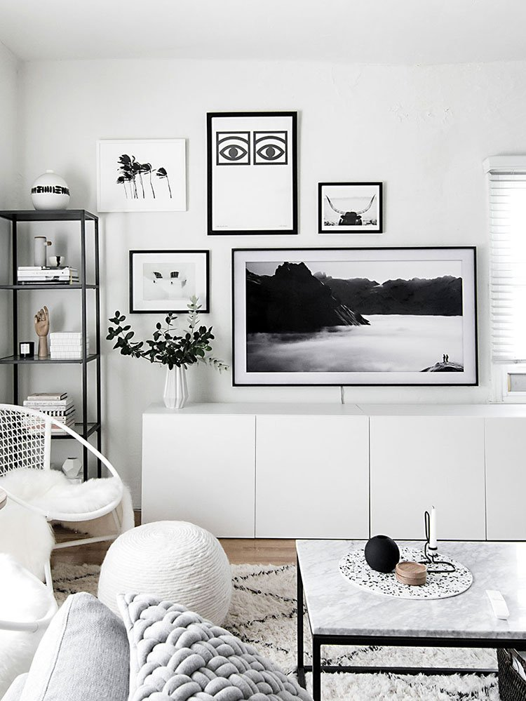Photo Gallery made easy. Break through the myths that everything needs to be spread perfectly apart. Anything goes and it's a reflection of your personality. My Modern Bohemian Farmhouse Photo Wall.