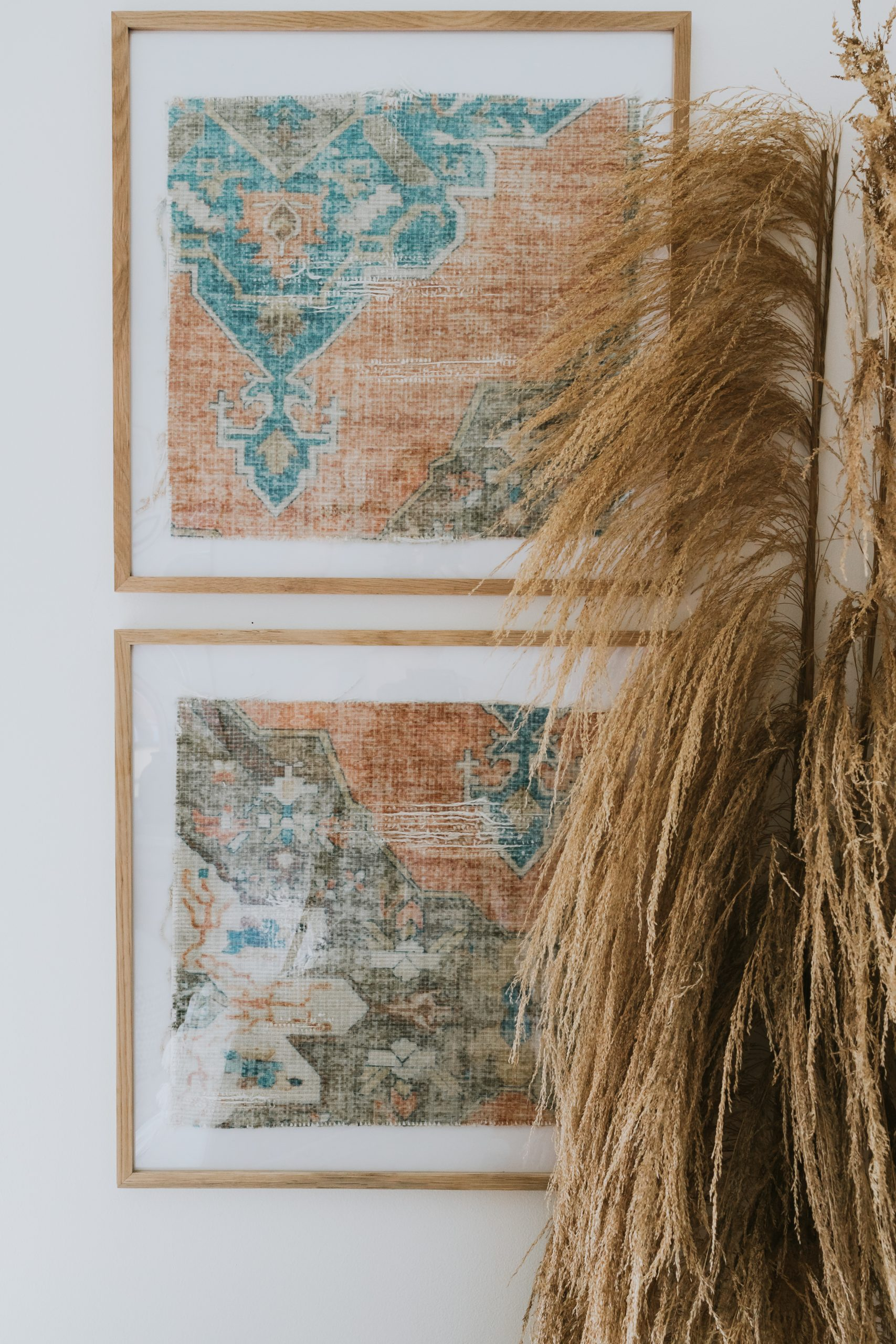 DIY Rug Art Inspired by McGee and Co Vintage Framed Rug. How I distressed and made my rug super old and distressed looking to replicate a vintage rug. Also a shop list for the frames I used and where to buy cheap kilm pillows to use.