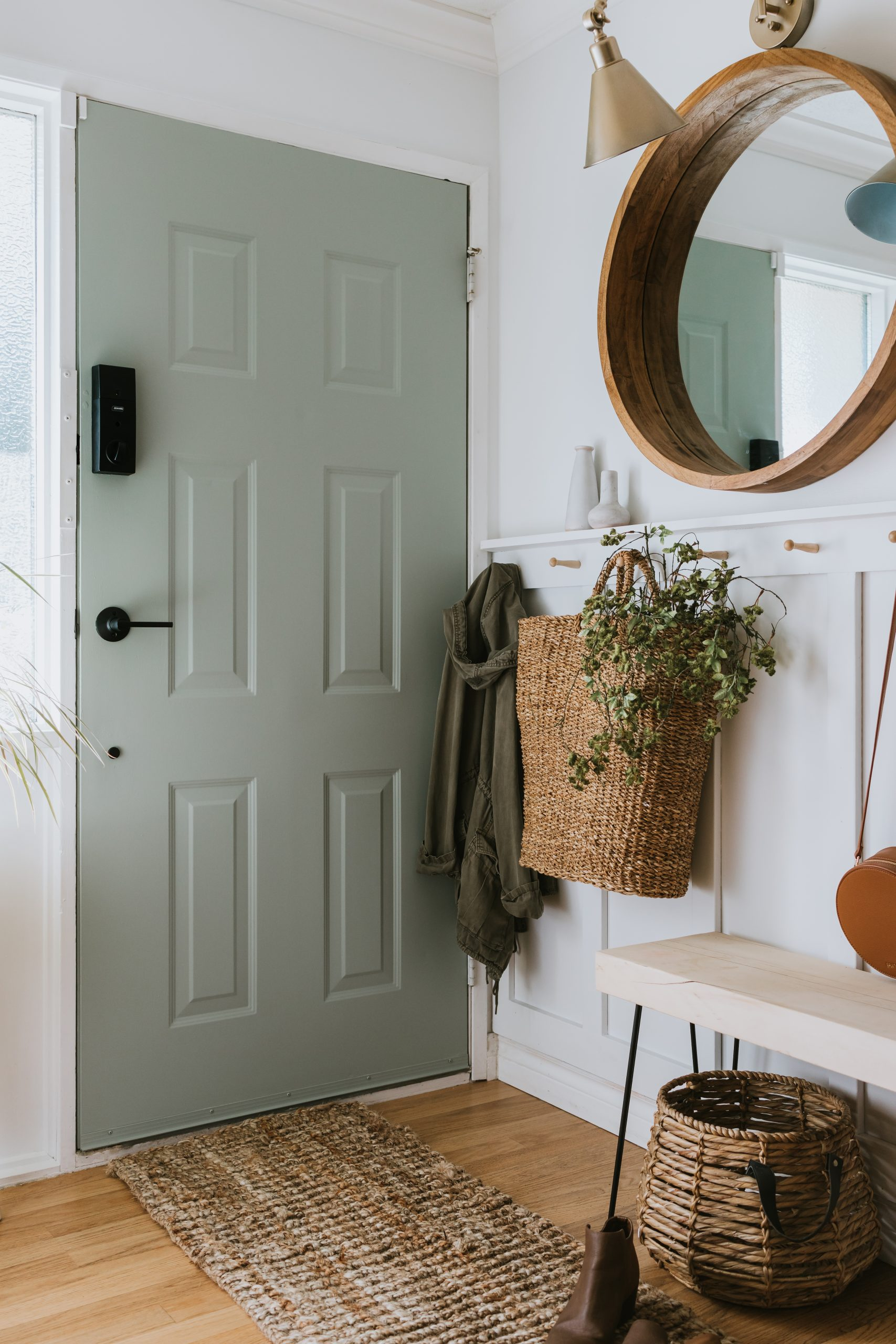Our Sage Front Door and Painting Tips. Learn my simple tips to get a professional finish. Many are making simple mistakes that they aren't aware of!