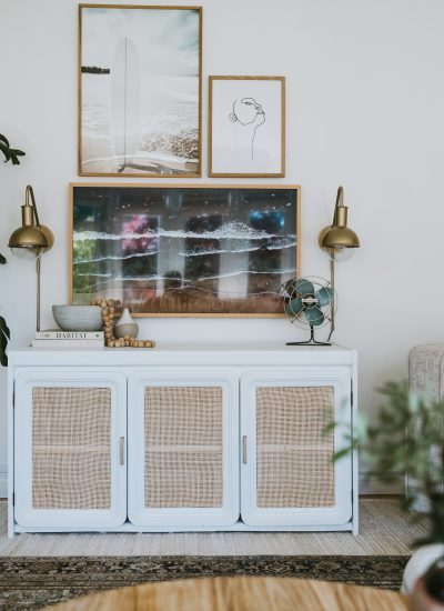Our Retro Cane Sideboard. How To turn any buffet, ikea cabinet or sideboard into a beautiful cane piece. Where I bought the cane and how to install it.