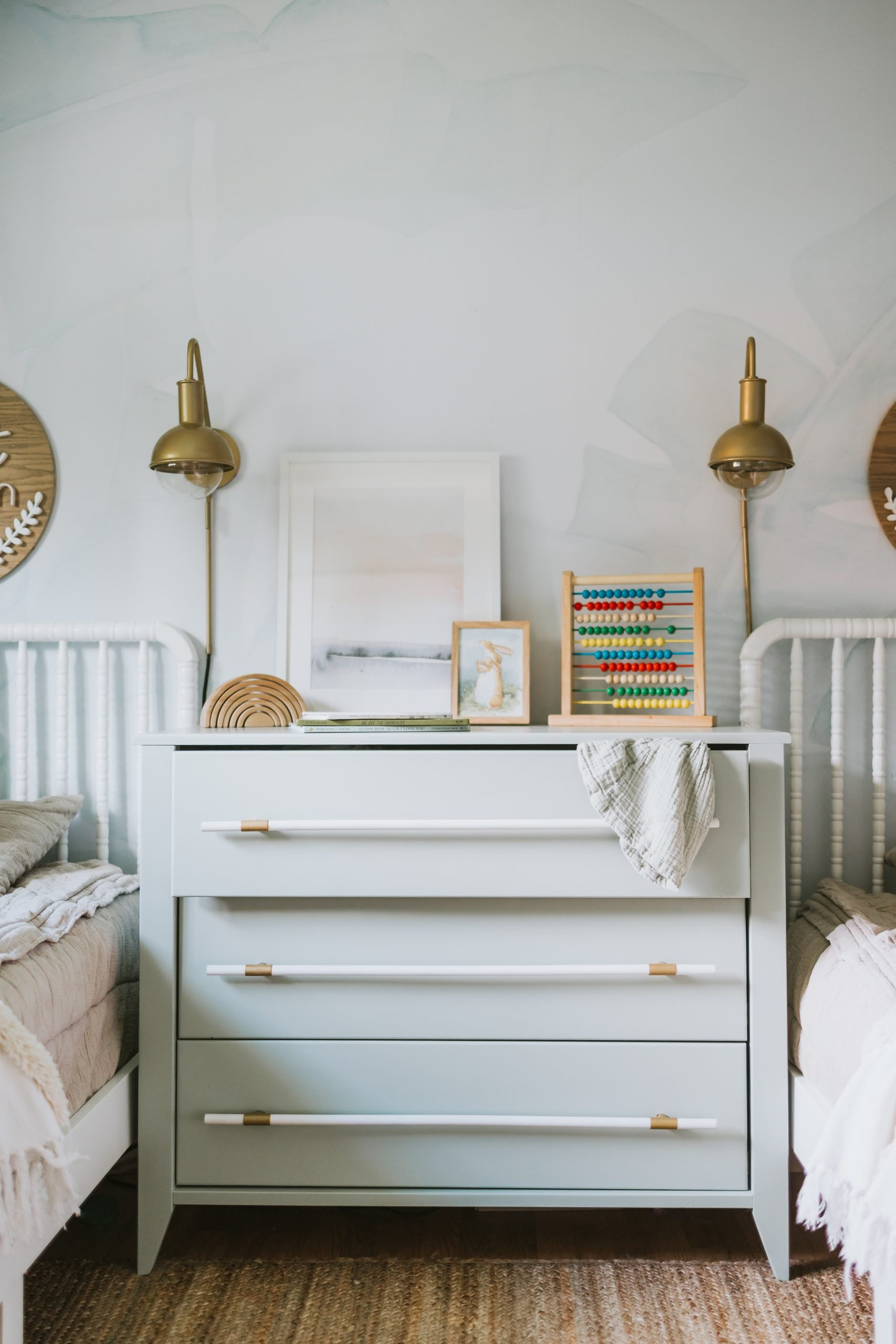 Dresser Makeover With Dowel Handles. How We Did This Dresser For Under 30 Dollars and It Looks Like It's Out Of A Pottery Barn Magazine!