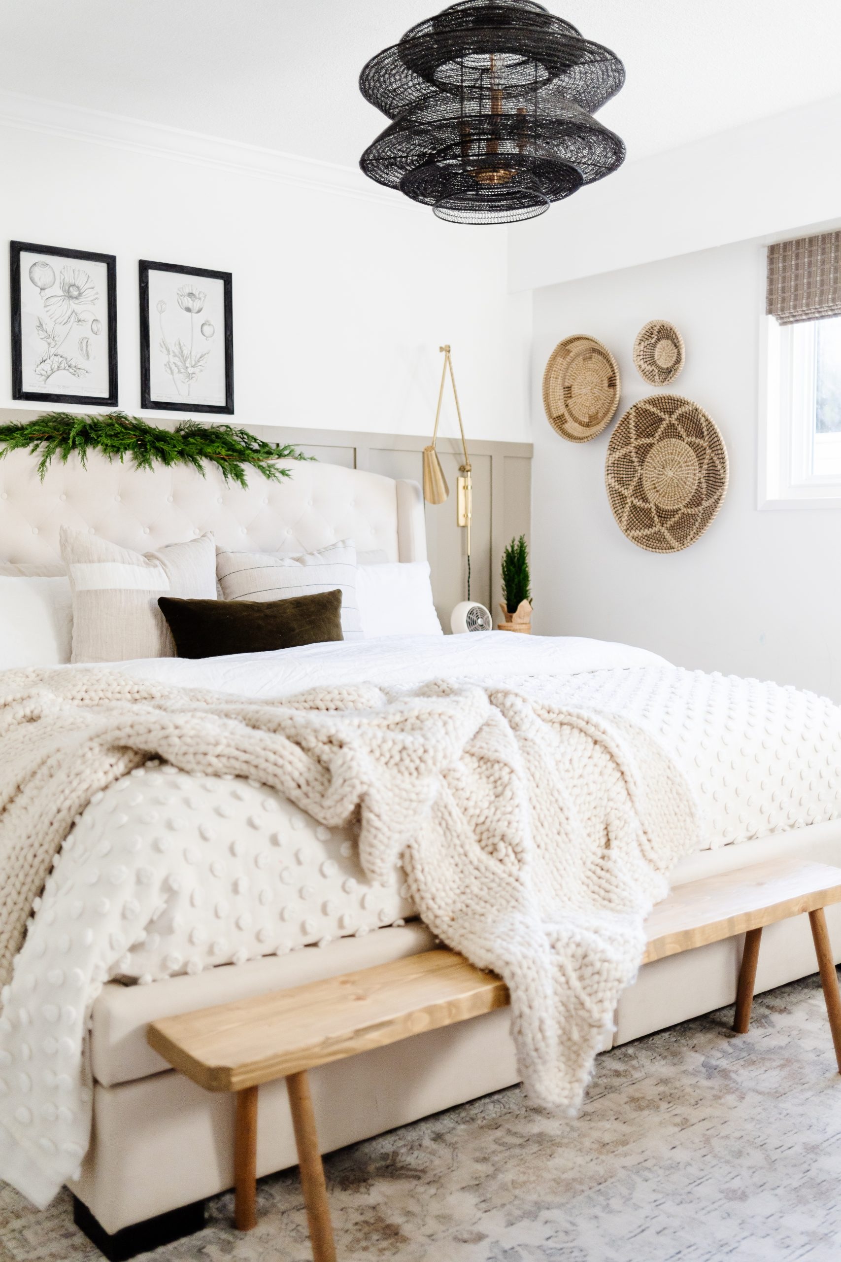 Olive Green Board and Batten. I DIY'd the board and batten in our master bedroom and then painted it this amazing shade of green. Click on the blog to find out what colour I used and how easy board and batten is to DIY!