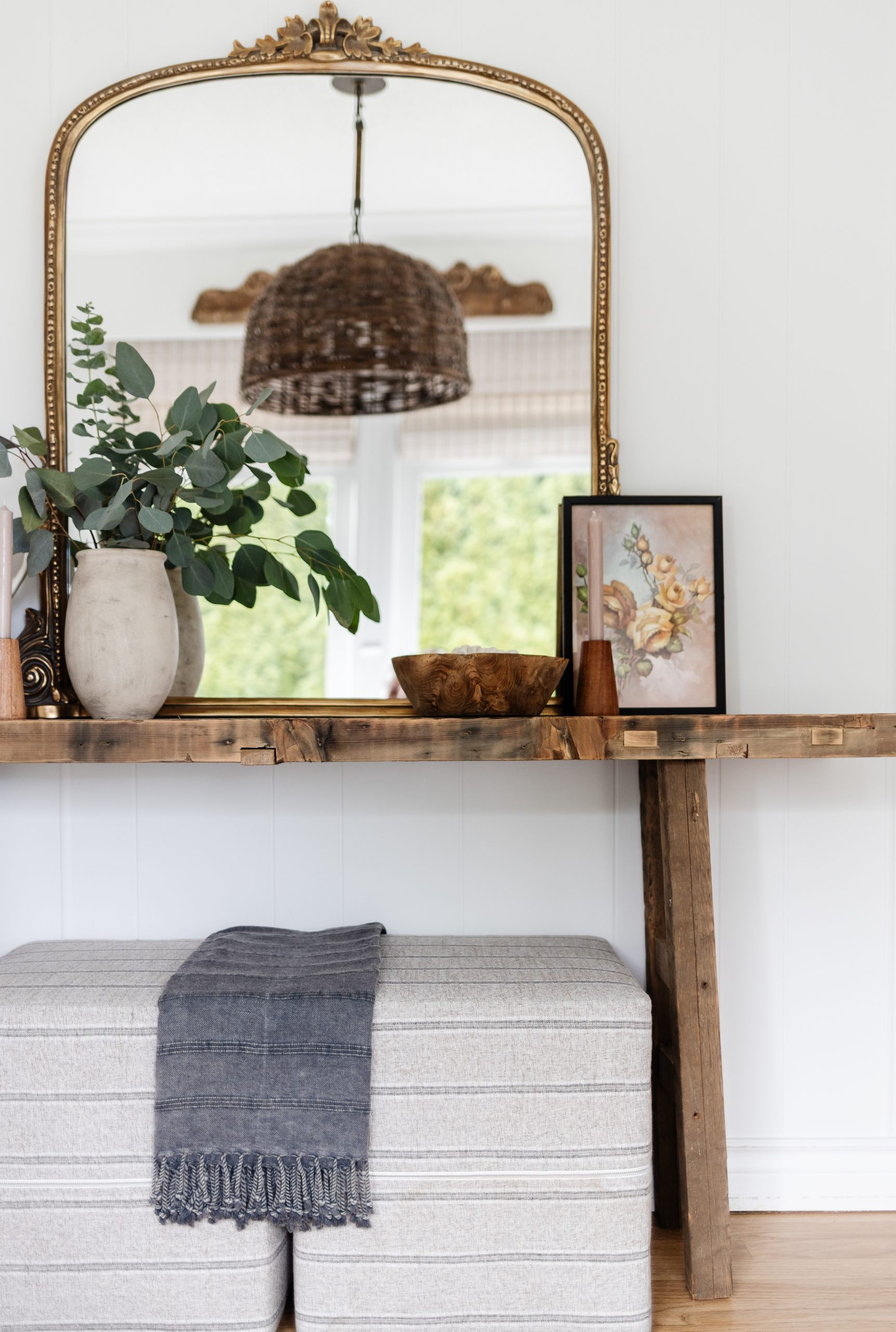 DIY Reclaimed Sofa Table made out of reclaimed wood from a salvage yard for a quarter of the price. This rustic modern sofa table will charm any space.