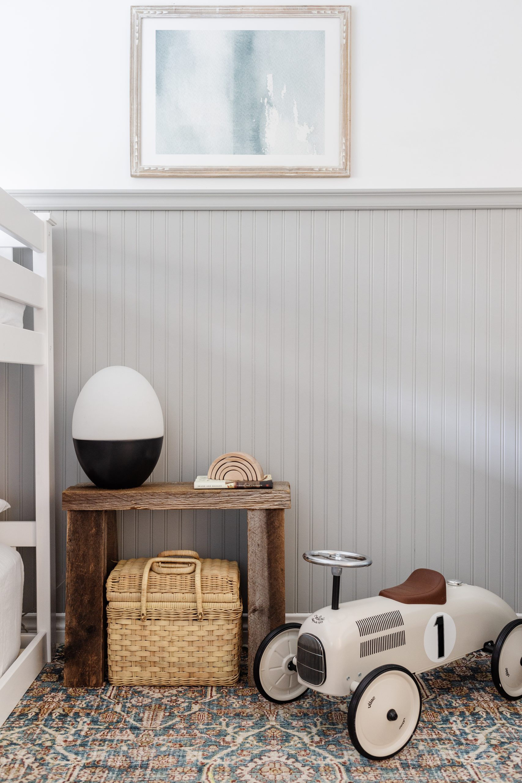 Simple Wainscotting That Will make a Statement. How we transformed our kids room for under 150 dollars. What we purchased and how we did it. Also the paint colours we used!