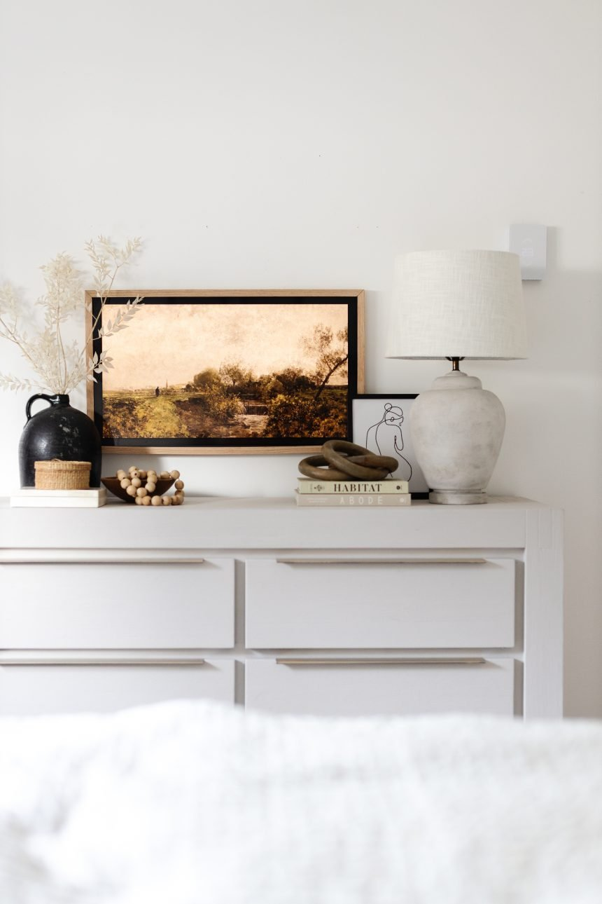 DIY Frame TV and Styling with Thrifted Items. Styling doesn't have to be expensive! See how I styled our whole dresser with thrifted and upcycled items. Modern Traditional Dresser Decor
